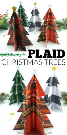 Add to your rustic holiday decor by making a plaid Christmas tree craft. Simple DIY Christmas plaid decor, DIY rustic Christmas decor and Christmas craft. Diy Christmas Decorations For Home, Tartan Christmas, Christmas Crafts For Kids, Christmas Fun, Holiday Crafts, Rustic Christmas, Holiday Decor, Christmas Tree Printable, Christmas Banners