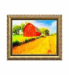 Impressionist red barn landscape art print, water color wall decor