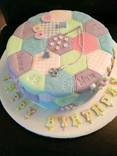 Patchwork Cake by Tracy . - - Patchwork Cake from Tracy … Patchwork Cake from Tracy … Patchwork Cake from Tracy … Welcome t - # Patchwork Cake, Quilted Cake, Sewing Machine Cake, Sewing Cake, Spiderman Torte, Knitting Cake, 70th Birthday Cake, Crazy Cakes, Novelty Cakes