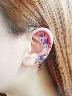 23 Beautiful Flower Tattoo Ideas for Women Vine Tattoos, Body Art Tattoos, Ear Tattoos, Tatoos, Little Tattoos, Small Tattoos, Tattoo Designs For Women, Tattoos For Women, Inner Ear Tattoo