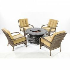 Alfresco Home North Mowing All Weather Wicker Fire Pit Chat Set - Seats 4. Only $3,659.00 FREE Shipping. #PatioFurniture