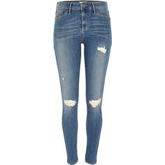 Mid Wash ripped Molly Jeans   http://eu.riverisland.com/women/jeans/jeggings/Mid-wash-ripped-Molly-jeggings-657402