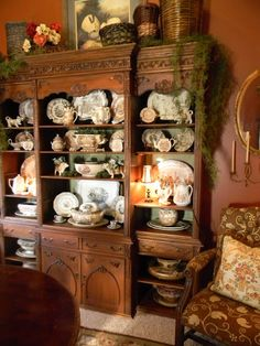 Nancy's Daily Dish: Brown Transferware & A Painted Bookcase Back