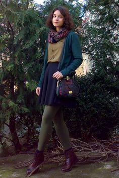 khaki green tights, blue skirt and Cardigan, top, Brown leather booties - autumn…