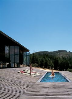 swimming pool with slanted deck