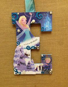Disney Frozen Wooden Letter done in Elsa E 11 by SpikaInteriors
