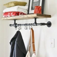DIY Home Decor   I am totally digging this industrial wood and pipe coat rack from Beneath My Heart!