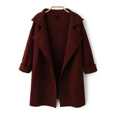 SheIn(sheinside) Wine Red Lapel Long Sleeve Loose Knit Coat (€20) ❤ liked on Polyvore featuring outerwear, coats, jackets, cardigans, tops, burgundy, knit coat, burgundy coat, long sleeve coat and knee length coat