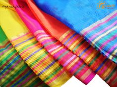 Organza fabric in bright summer colors with checks & multicolored border ....perfect for womens wear!! Available @ Suseelk!