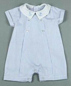 Another great find on Blue & White Checks Pima Romper - Infant by Hug Me First Little Boy Outfits, Toddler Outfits, Baby Boy Outfits, Kids Outfits, Baby Boy Fashion, Kids Fashion, Couture Bb, Baby Clothes Patterns, One Clothing