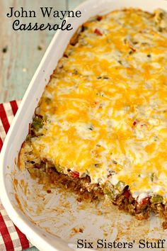 This Bisquick John Wayne Casserole is easy to make for a weeknight dinner. It uses Bisquick for extra substance and boy does that biscuit layer take this dish to the next level!