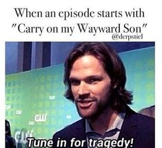 "Ok actually though for the season 12 finale when ""the road so far"" thing played and carry on wayward son was also playing I started crying and the episode hadn't even started yet rip"