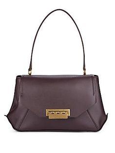 ZAC Zac Posen Eartha Leather Envelope Bag - Dark Purple - Size No Size
