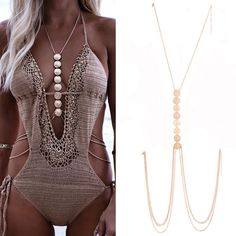 Boho Coin Multilayer Long Necklace Ethnic Gold Silver Belly Waist Body Chain
