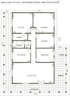 Plantas de Casas - Modelos-Projetos-Planta Baixa 05 Model House Plan, My House Plans, House Layout Plans, 4 Bedroom House Plans, House Layouts, Small House Plans, House Rooms, House Floor Plans, Home Room Design