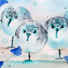 Original Watercolor Print of Sanderlings on Shore, Bird Art Print,  6 x 6