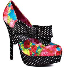 You'll be obsessed over this new pump from Iron Fist.  Indecent Obsession brings you a whimsical strawberry satin covered upper and a polka dot 5 1/2 inch wedge and 1 1/2 inch platform.  This mary jane style features a large bow placed adorably at the vamp. - HighOnShoes.com