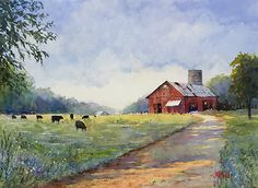 Black Cows and Red Barn by Judy Mudd Watercolor ~ 12 x 16