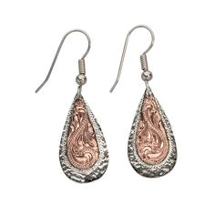 500c74e62 Vogt Silversmiths Copper Teardrop with Engraved Sterling Silver Edging  Copper Jewelry, Badass