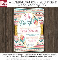 Tribal Baby Shower Invitation - Teepee Arrows Feathers Native Aztec by PuggyPrints on Etsy