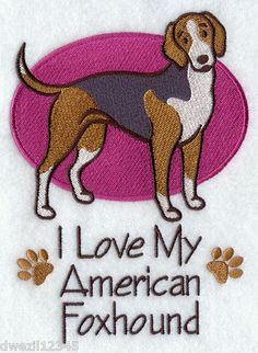 I LOVE MY AMERICAN FOX HOUND DOG - DOGS - 2 EMBROIDERED HAND TOWELS by Susan