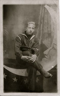 Sailor on Paper Moon, circa 1910 Vintage Moon, Vintage Paper, Vintage Sailor, Moon Photography, Vintage Photography, Antique Photos, Vintage Photos, Moon Photos, Moon Pictures
