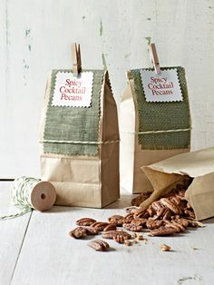 Great recipes for spicy cocktail pecans! Such a cute gift idea too!