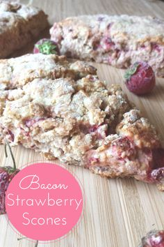 Strawberry Bacon Scones. Who knew strawberries could play so nicely with bacon in this simple yet oh so amazing recipe. Just a little savory to go with your sweet for breakfast. Yum!