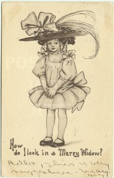 Antique Postcard Sepia Girl in Hat   Merry by postcardsintheattic, $14.95