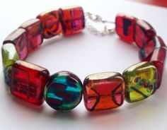 Outsider artist Robert Lindsey Walker handmade bracelet. Freehand illustrations of his architectural designs on stained glass. Only one made. Art brut/ outsider art. CrystalEtBell.etsy.com