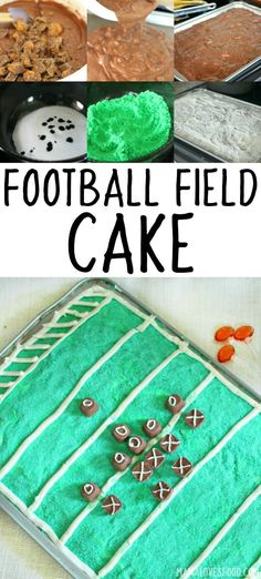 This Football Field Cake is just what you need for your next football party or Superbowl Party! It was a HUGE hit and so easy to make! Football Field Cake, Football Food, Super Bowl Party, Teriyaki Chicken, Bbq Chicken, Cupcakes, Cupcake Cakes, Chinese Lemon Chicken, Vegan Pizza Recipe