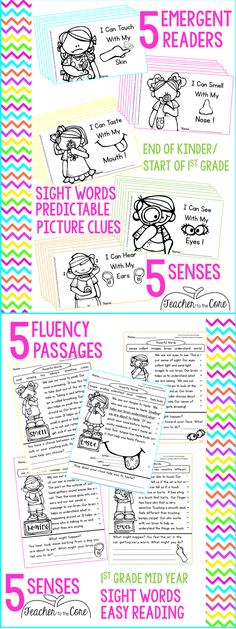 5 Senses reading pack that will make them BEG to read. This pack has true differentiation.  Emergent readers are provided for the end of Kinder and start of first grade levels.  Easy reading passages are provided for higher readers or to use mid to end of first grade.  I am telling you, this pack has everything. Reading, writing, activities, and tests!