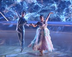 Lovely waltz:Justina Machado and Sasha Farber, 36, then unveiled a lovely Viennese waltz to Billy Joel's She's Always A Woman, which Bruno described as 'smooth as silk, light as a feather.'