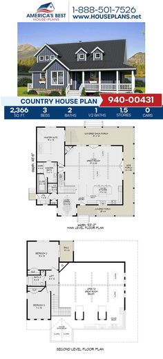 Featuring 2,366 sq. ft., this Country design is completed with 3 bedrooms, 2.5 bathrooms, a covered wrap around porch, a loft, and a kitchen island. To learn more details about Plan 940-00431, go to our website today!