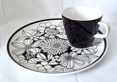 Vtg Jonas Roberts Cera-Stone Japan Black White Snack Plate Cup Set Bouquet #2037
