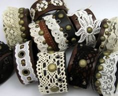 Leather and Lace cuffs, lovely combination Leather Lace Bracelet, Leather Cuffs, Leather Jewelry, Leather And Lace, Jewelry Crafts, Handmade Jewelry, Lace Cuffs, Fabric Jewelry, Lace Jewelry
