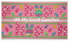 JELLYBEAN HOP PINK Chevron Bunny Rabbit Easter by omygoshgoodies