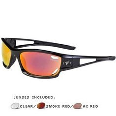 6bfc85da9a5 Tifosi Optics Dolomite Interchangeable Sunglasses Gloss Black Smoke W  Red  Glare Guard Ac