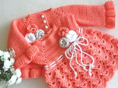 This item is made of soft acrylic yarn and is available in size : months us kids' numeric, occasion : baby shower. Crochet Baby Cardigan, Knit Baby Dress, Knit Baby Sweaters, Crochet Baby Clothes, Dress With Cardigan, Knitted Baby, Knit Cardigan, Baby Knitting, Crochet Bebe