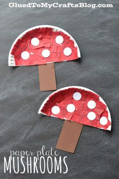 Paper Plate Mushrooms - Kid Craft Idea For Spring!-Paper Plate Mushrooms – Kid Craft Idea For Spring! Paper Plate Mushrooms – Kid Craft // Fall handicrafts with children fungus - Bee Crafts For Kids, Paper Plate Crafts For Kids, Frog Crafts, Glue Crafts, Toddler Crafts, Preschool Crafts, Easter Crafts, Art For Kids, Autumn Crafts Kids