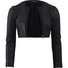 Narciso Rodriguez Leather Crepe Cardigan (31 395 ZAR) ❤ liked on Polyvore featuring tops, cardigans, jackets, outerwear, takit, black crop top, black cropped cardigan, black crepe top, narciso rodriguez and black cardigan