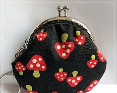 FREE SHIPPING - Little Handmade Coin Purse Red Mushroom in Black
