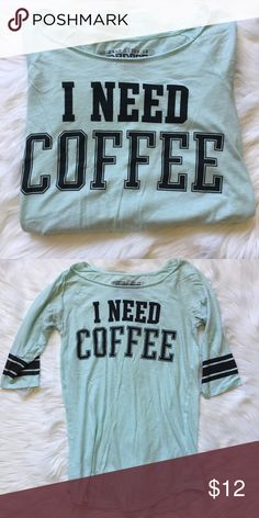 "I Need Coffee Sleep Shirt Long ""I Need Coffee"" Sleep shirt. Would also fit a size small. Feel free to ask any additional questions.    please make offers through offer button  bundle for a 20% off discount   smoke & pet free home   sorry no trades PINK Victoria's Secret Intimates & Sleepwear Pajamas"