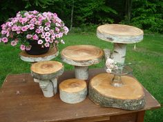 Birch Cake Stands for rustic wedding