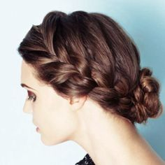 I really like the braid!  I could add lilacs to it! Top Hairstyles, Braided Hairstyles Updo, Spring Hairstyles, Popular Hairstyles, Braided Updo, Pretty Hairstyles, Style Hairstyle, Braided Crown, Hairstyle Ideas