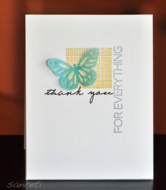 This is a lovely CAS card, one that is so easy to replicate with any number of small backgrounds. I do love the double vellum butterfly accent.
