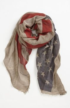 John Varvatos Collection Flag Print Scarf