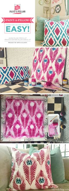 Cutting Edge Stencils shares a DIY tutorial on how to stencil accent pillows using a Paint-A-Pillow kit. Feather Painting, Fabric Painting, Stenciled Curtains, Stencil Decor, Cutting Edge Stencils, Paint And Sip, Pillow Room, Craft Night, Accent Pillows