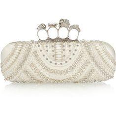 Alexander McQueen Knuckle embellished satin box clutch, Women's