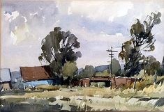 "<b>Edward Wesson (1910-1983), watercolour on paper 'Shalford Common'</b> 11"" x 16"""